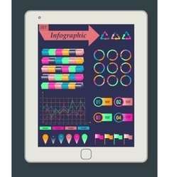 Infographics concept on a white tablet pc template vector