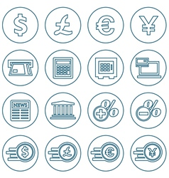 Financial and money thin line icons set vector