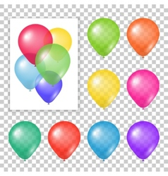 Set of party balloons on transparent background vector