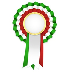 Tricolor rosette with golden frame and green white vector