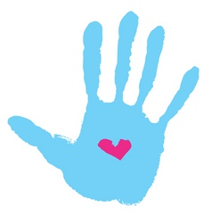 Handprint with heart vector