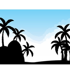 Silhouette coconut trees vector