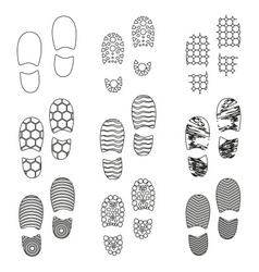Black human shoes footprint various sole outline vector