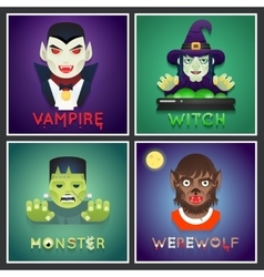 Halloween party monster role character bust icons vector