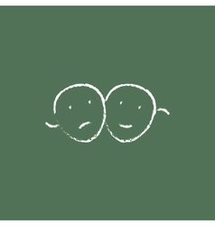 Two theatrical masks icon drawn in chalk vector image