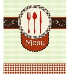 Cover menu with kitchenware vector