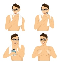 Four steps of man shaving his face vector