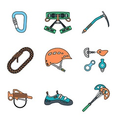 Colored outline various alpinism tools icons vector