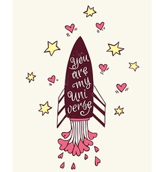 Hand drawn with rocket and hearts vector