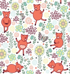pigs on a meadow seamless pattern vector image