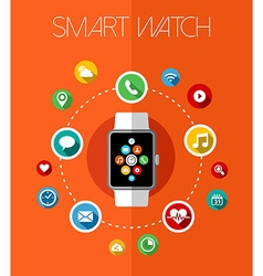Concept smart watch design with app icons vector