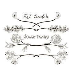 black floral text dividers flower design vector image vector image