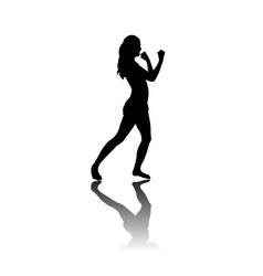 Black silhouette of Woman boxing vector image