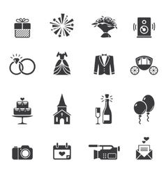 Black wedding icons vector
