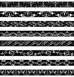 Black white element border designs vector