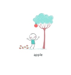 Child under apple tree vector