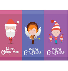 Christmas characters avatars vector