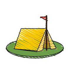 Color crayon stripe image camping tent in grass vector