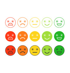 Colored flat icons of emoticonsdifferent emotions vector