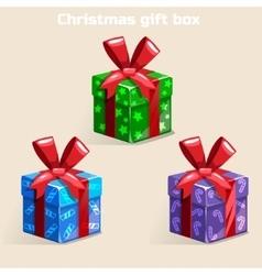 Colors Christmas gift box vector image