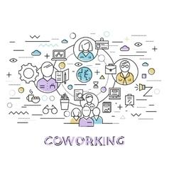 Coworking line art vector