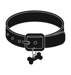 Dog collar icon in black style isolated on white vector image vector image
