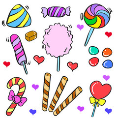 Doodle of candy various colorful style vector