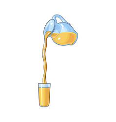 drawing of orange juice pouring from jar in glass vector image vector image