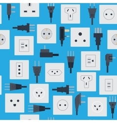 Electrical outlets plugs seamless pattern vector