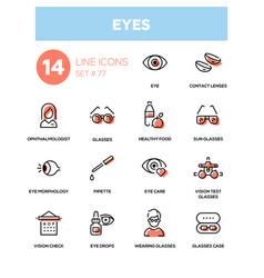 Eyes - line design icons set vector