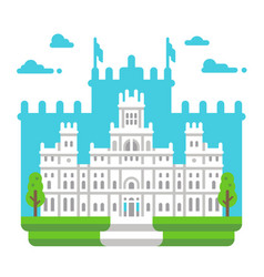flat design cibeles palace madrid vector image