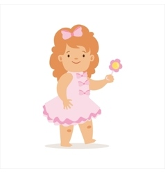 Girl in pink dress walking with flower adorable vector