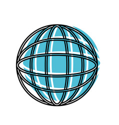 globe world icon watercolor silhouette with thick vector image vector image