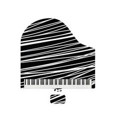 Grand piano icon with white line vector