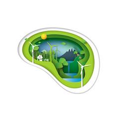 green environment idea concept pzper art style vector image