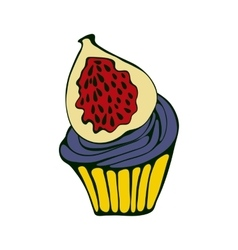 Hand drawn of cupcake with fig vector image vector image