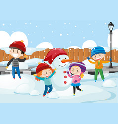 Happy children playing in the snow vector