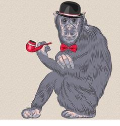 Hipster monkey gentleman vector