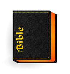 Holy bible vintage leather black book vector