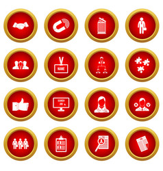 Human resource management icon red circle set vector