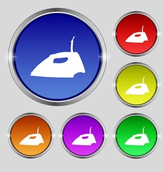 Iron icon sign round symbol on bright colourful vector