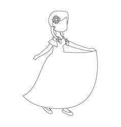 Isolated peasant woman dancing vector