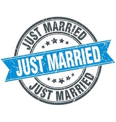 Just married blue round grunge vintage ribbon vector