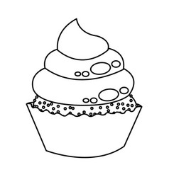 Little delicious cupcake muffin bakery food vector