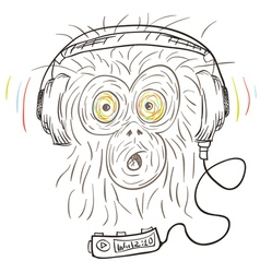 Monkey listens the music vector image