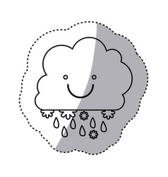 monochrome contour sticker with smiling cumulus of vector image vector image