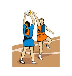 Netball player shooting vector