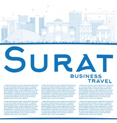 Outline Surat Skyline with Blue Buildings vector image vector image