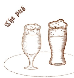 Pencil hand drawn of pair of beer glass with label vector