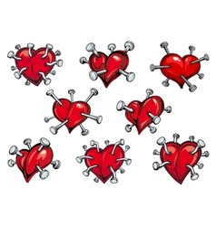 Red hearts pierced by nails vector